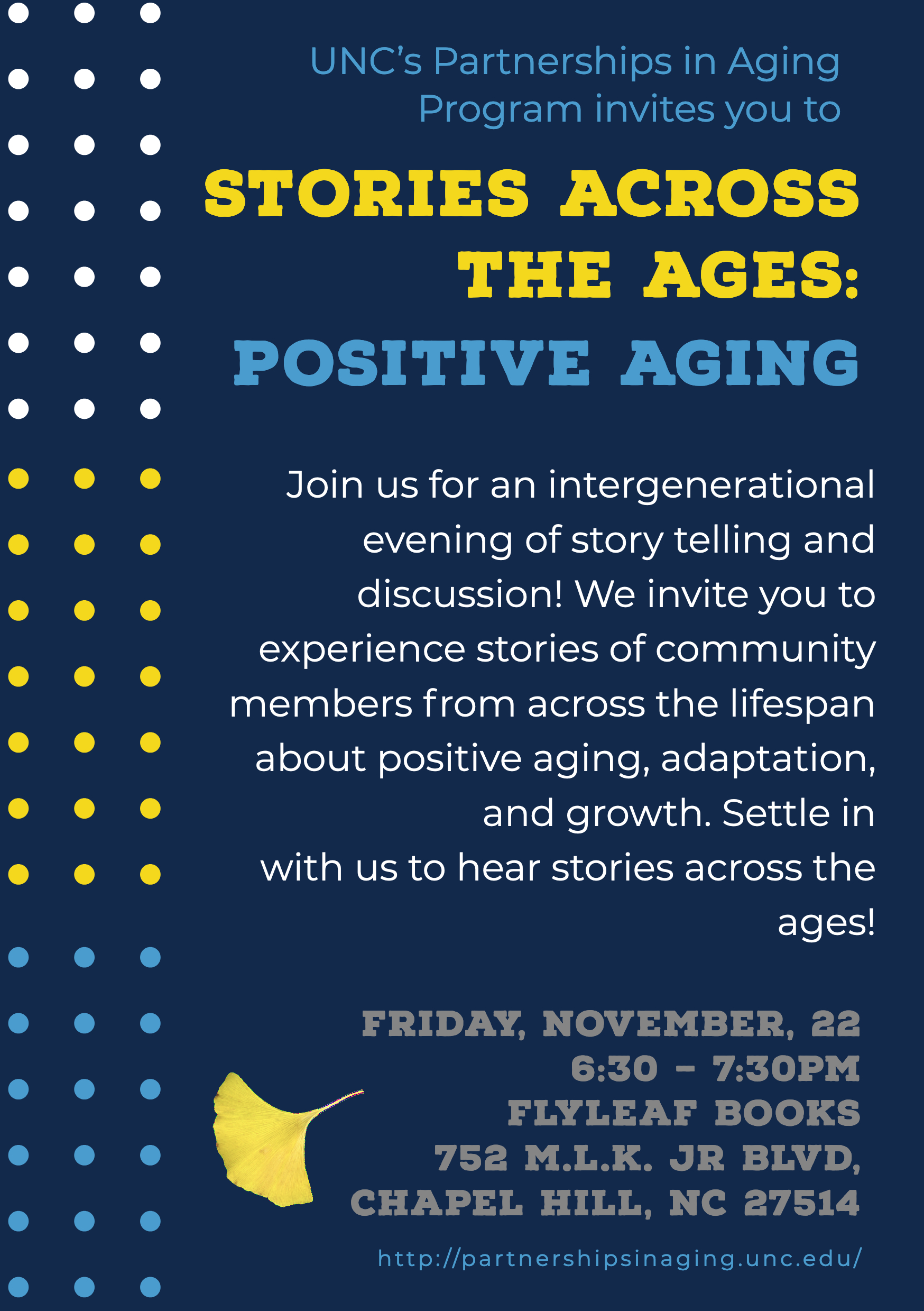 Flyer for Stories Across the Ages: Positive Aging at FlyLeaf Books on November 22, 2019 at 6:30pm